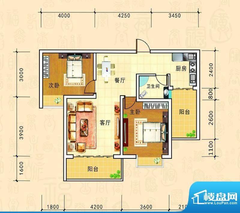 金源新城福邸嘉园25面积:84.08m平米