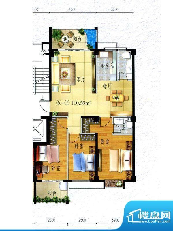 锦阳雅轩2幢标准层0面积:110.50m平米