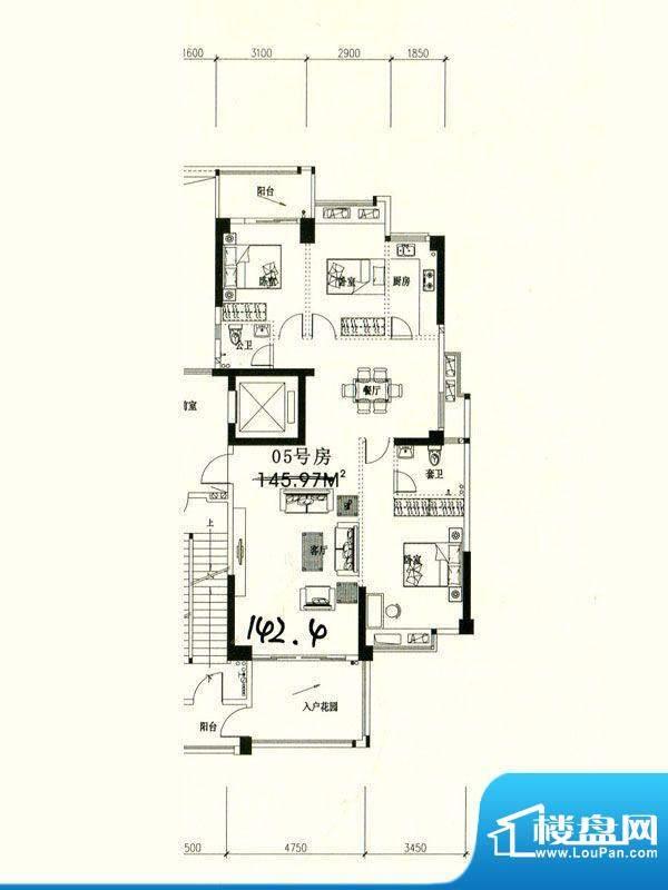 星湖城6幢东部分标准面积:142.40m平米