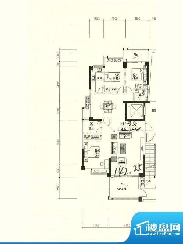 星湖城6幢东部分标准面积:142.25m平米