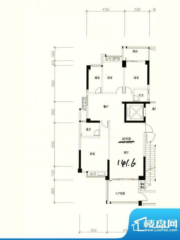 星湖城11幢标准层06面积:141.60m平米