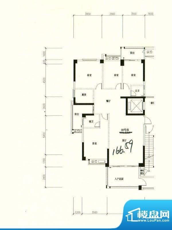星湖城11幢标准层08面积:166.59m平米