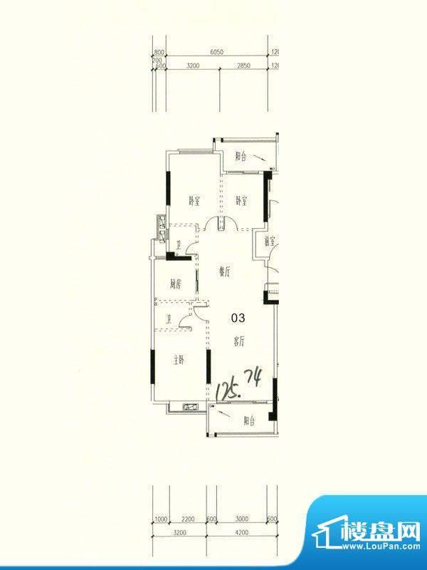 星湖城15幢标准层03面积:125.74m平米