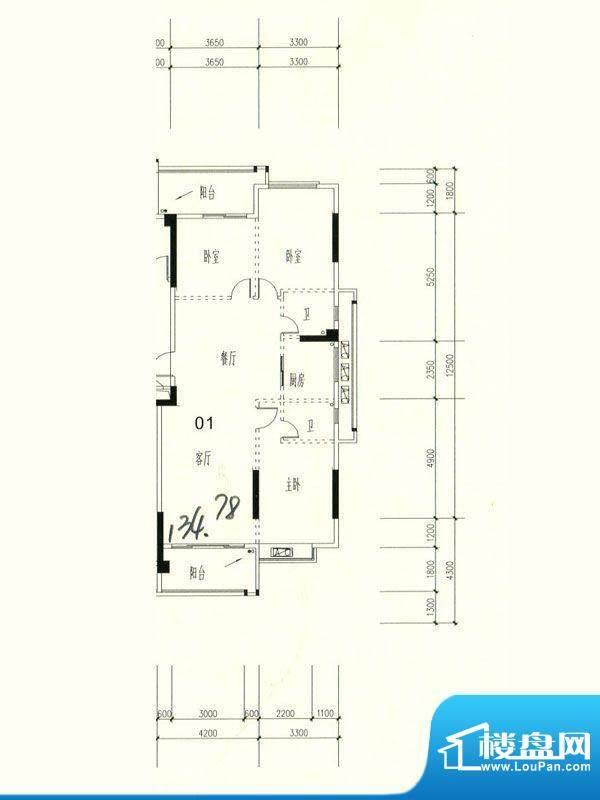 星湖城15幢标准层01面积:134.78m平米