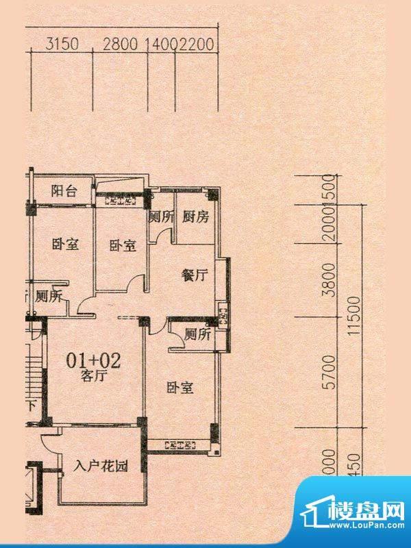 天华美地19#2-14层0面积:140.15m平米