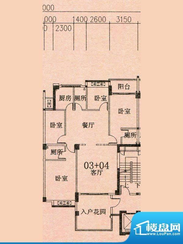 天华美地19#2-14层0面积:142.58m平米