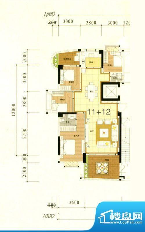 万豪南湾5幢标准层1面积:153.79m平米