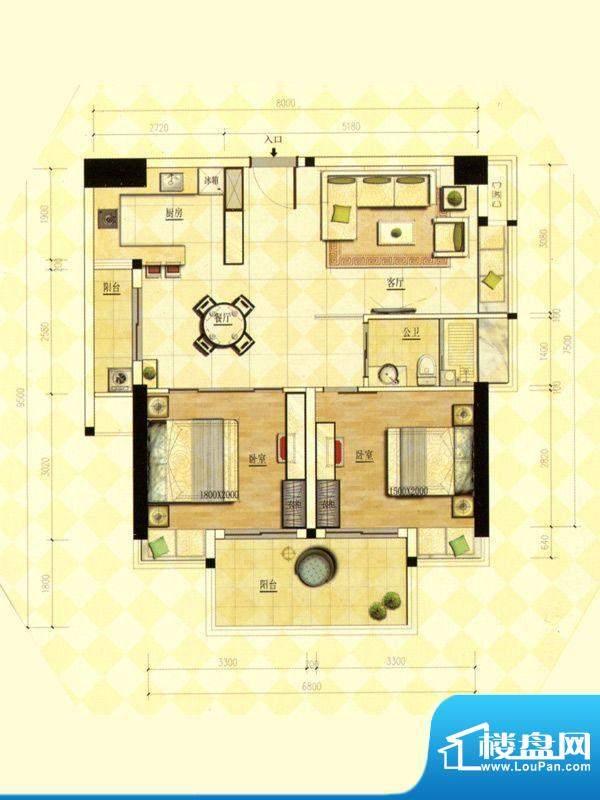 玫瑰金寓02.10号房两面积:84.44m平米