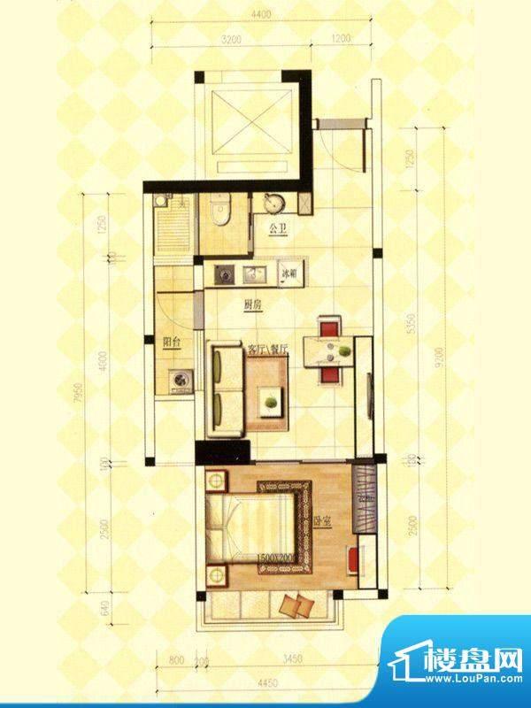 玫瑰金寓05.06号房一面积:42.60m平米