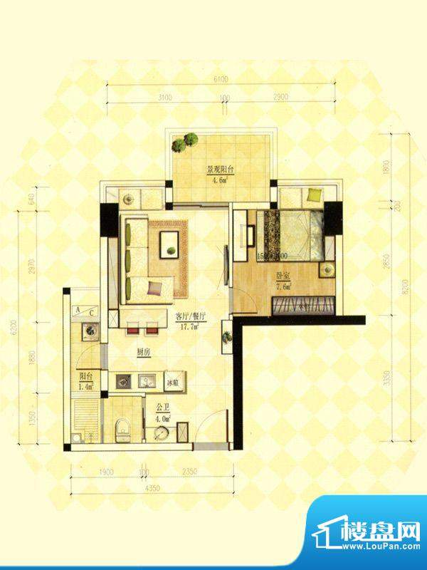 玫瑰金寓03.07号房一面积:49.09m平米