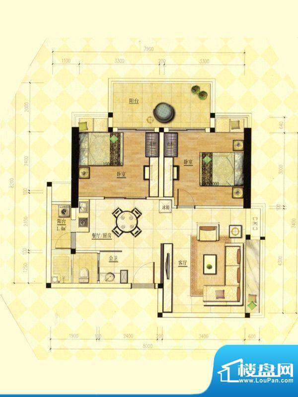 玫瑰金寓01.09号房两面积:76.88m平米
