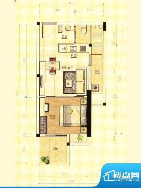 玫瑰金寓04.08号房一面积:42.63m平米