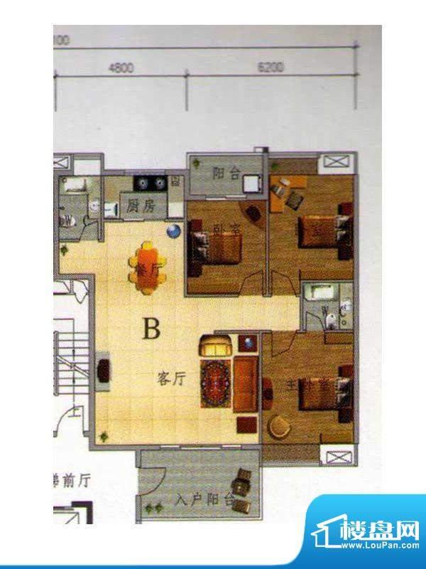 虹璟湾东区4幢标准层面积:124.00m平米