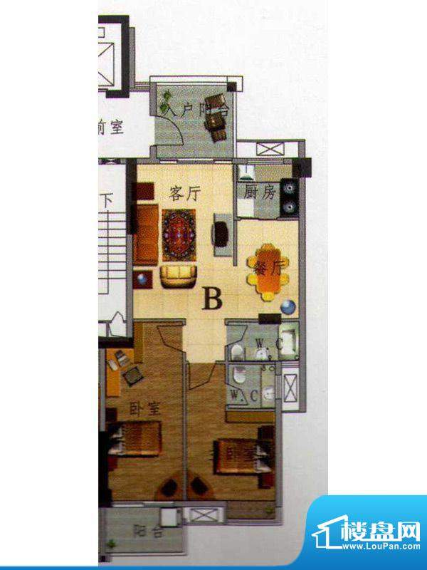 虹璟湾西区1幢标准层面积:88.00m平米