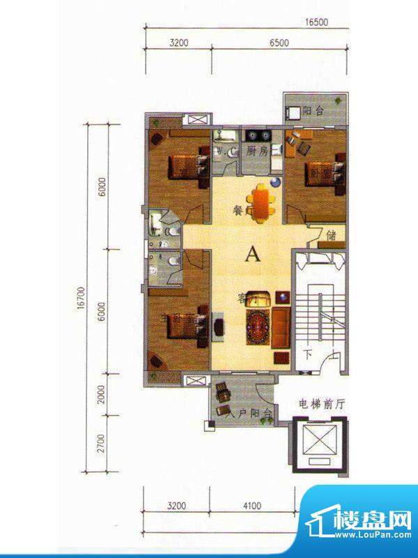 虹璟湾西区3幢标准层面积:128.00m平米