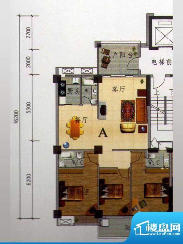 虹璟湾西区1幢标准层面积:125.00m平米