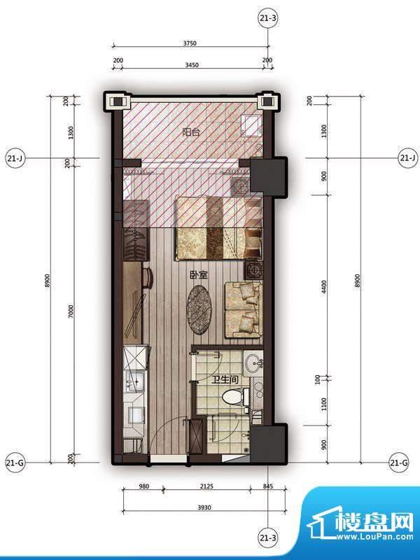 尚海阳光25栋公寓08面积:33.67m平米