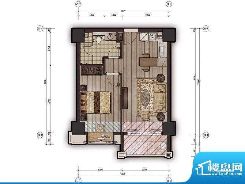 尚海阳光25栋公寓12面积:55.91m平米