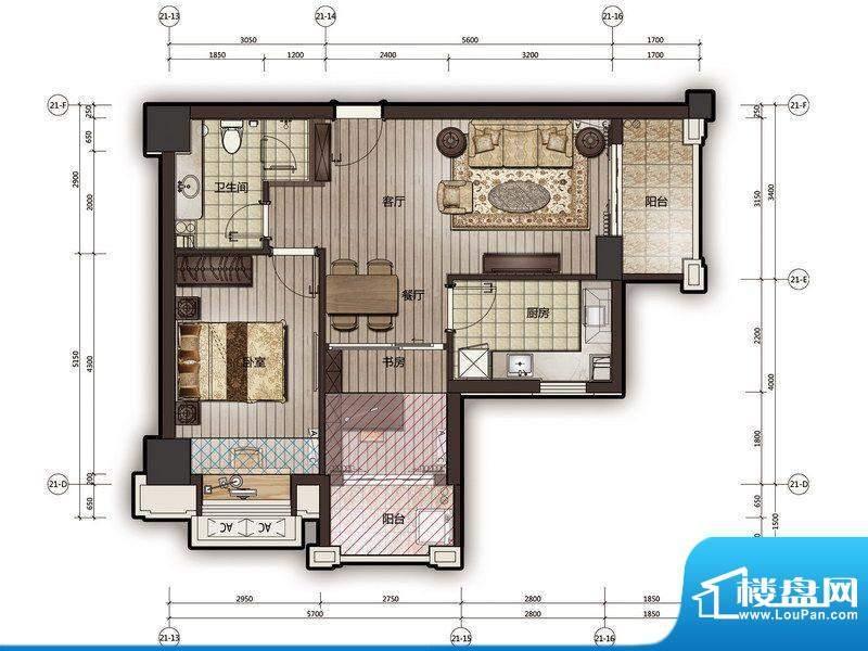 尚海阳光25栋公寓16面积:76.31m平米