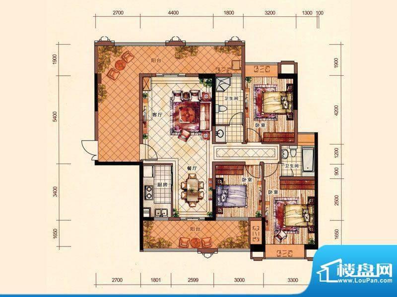 盛荟花园1栋1单元2-面积:144.13m平米