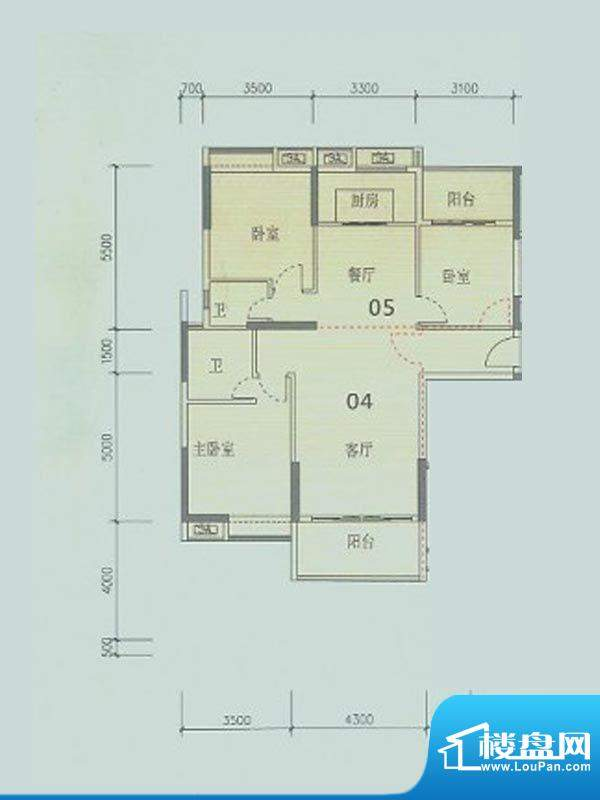 潮庭华府4幢标准层0面积:129.33m平米