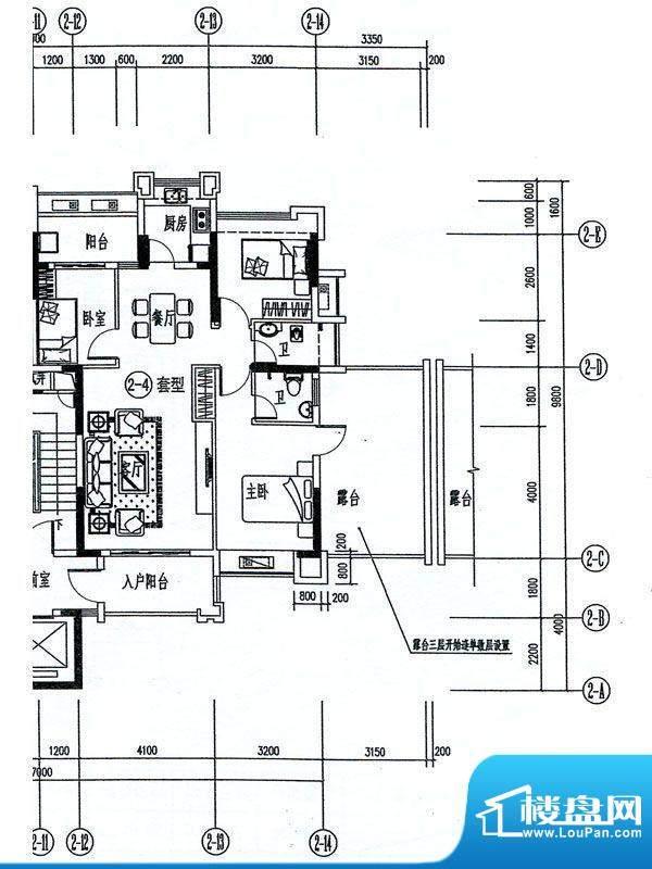 香景雅园2栋标准层2面积:88.66m平米