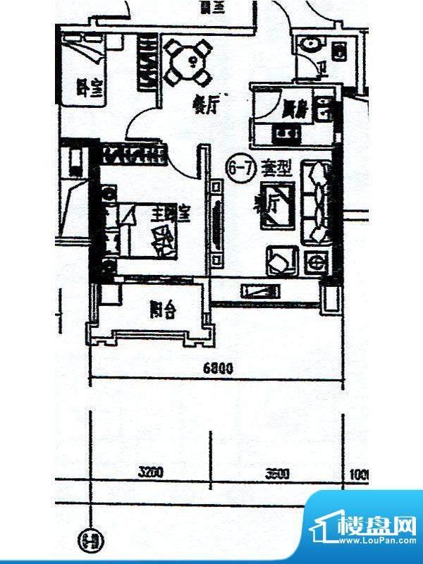 香景雅园6.7栋标准层面积:64.21m平米