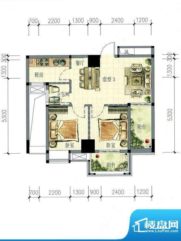 南海阁·海滨大厦03面积:63.08m平米
