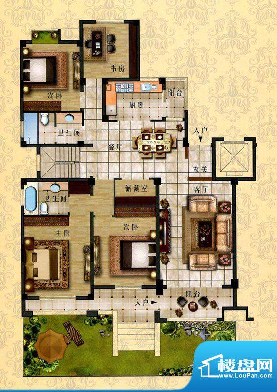 时代新城D1户型 4室面积:168.00平米
