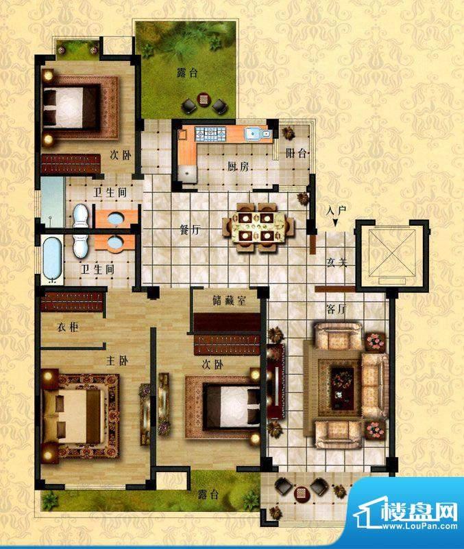 时代新城D2户型 3室面积:158.00平米
