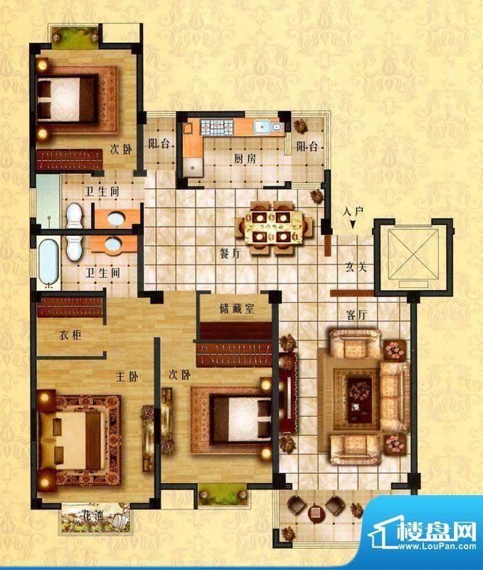 时代新城D3户型 3室面积:158.00平米