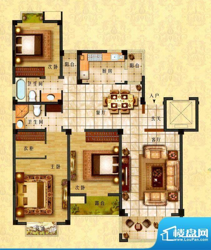时代新城D4户型 3室面积:152.00平米