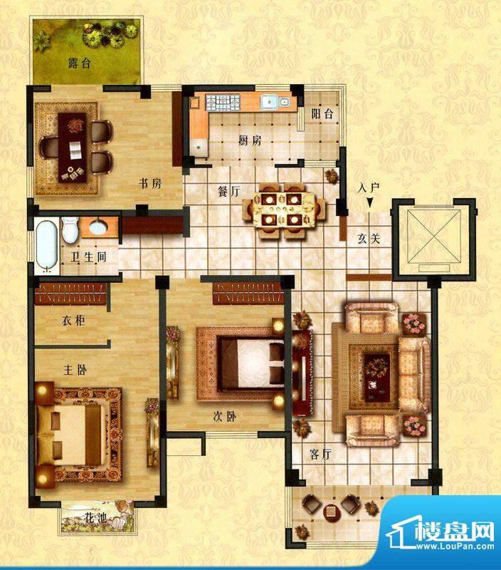时代新城D5户型 3室面积:145.00平米