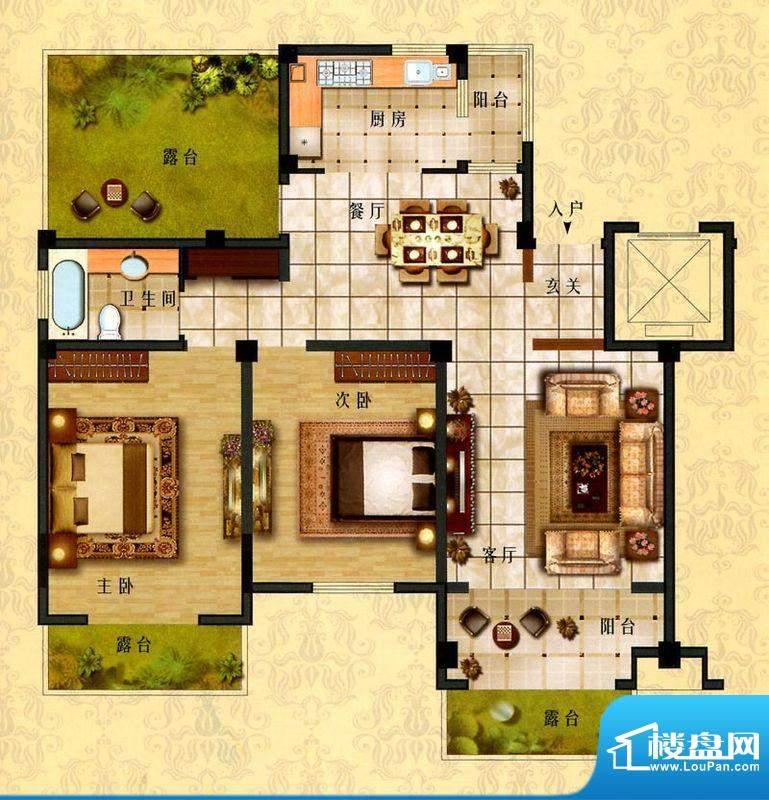 时代新城D6户型 2室面积:113.00平米