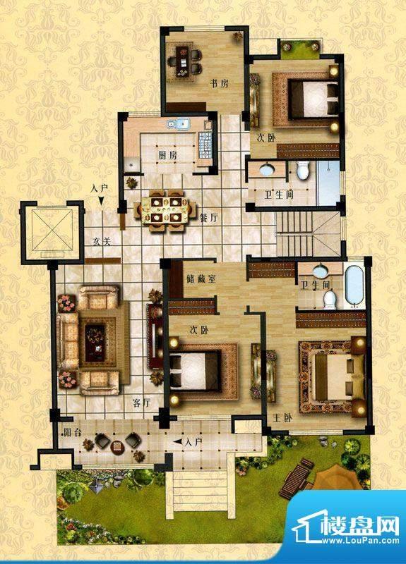 时代新城E1户型 4室面积:166.00平米