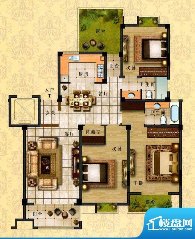 时代新城E2户型 3室面积:150.00平米
