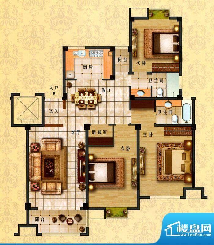 时代新城E3户型 3室面积:149.00平米