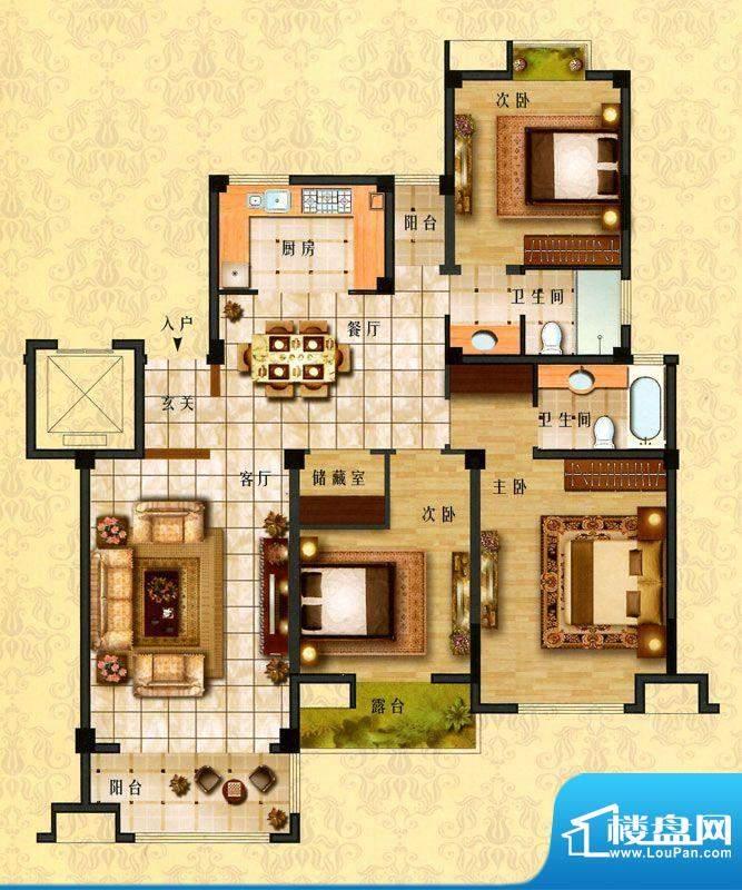 时代新城E4户型 3室面积:144.00平米