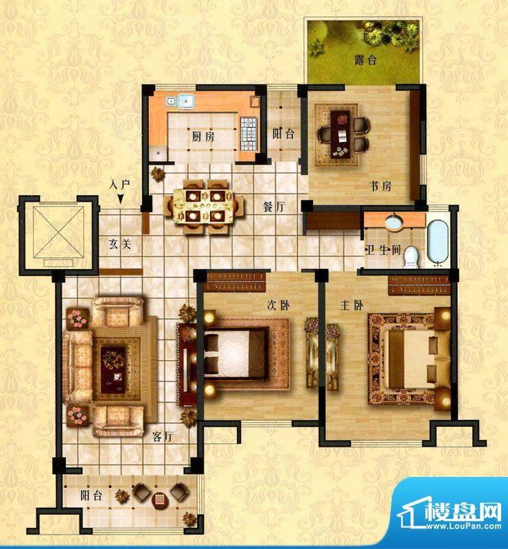 时代新城E5户型 3室面积:135.00平米