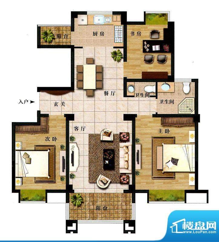 时代新城F2户型 3室面积:122.50平米