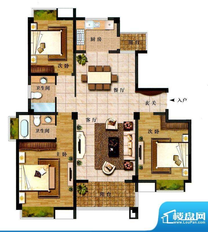 时代新城F3户型 3室面积:137.00平米