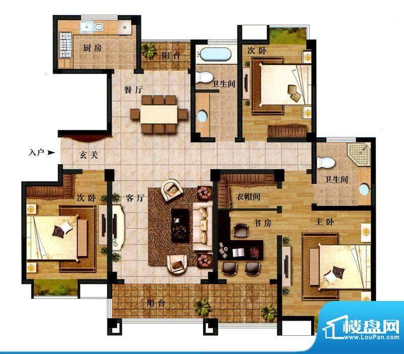 时代新城F4户型 4室面积:167.00平米