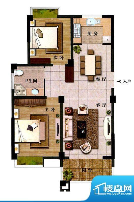 时代新城H1户型 2室面积:99.19平米