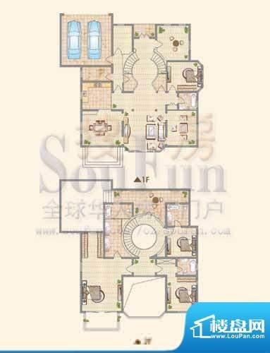 龙城福第F户型 4室3面积:370.00平米