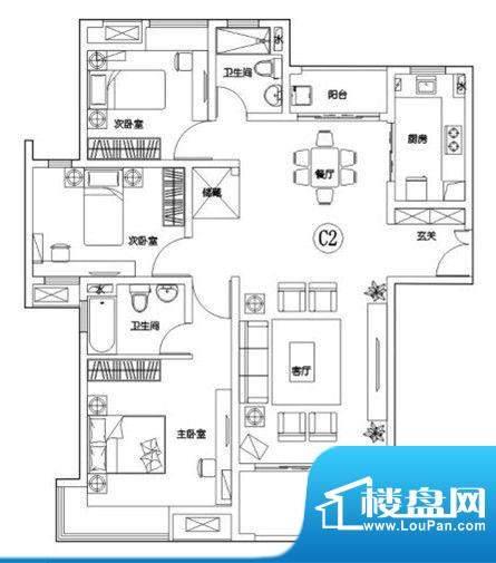 建滔裕花园C2户型 3面积:133.00平米