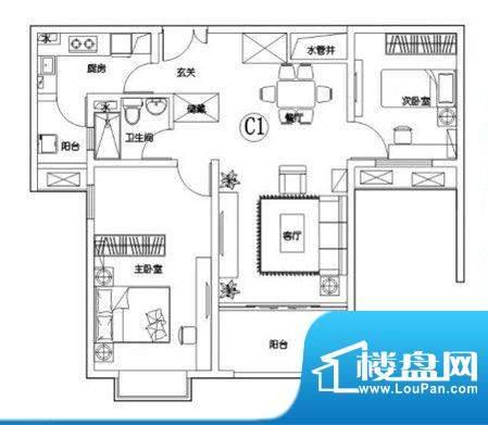 建滔裕花园C1户型 2面积:94.50平米