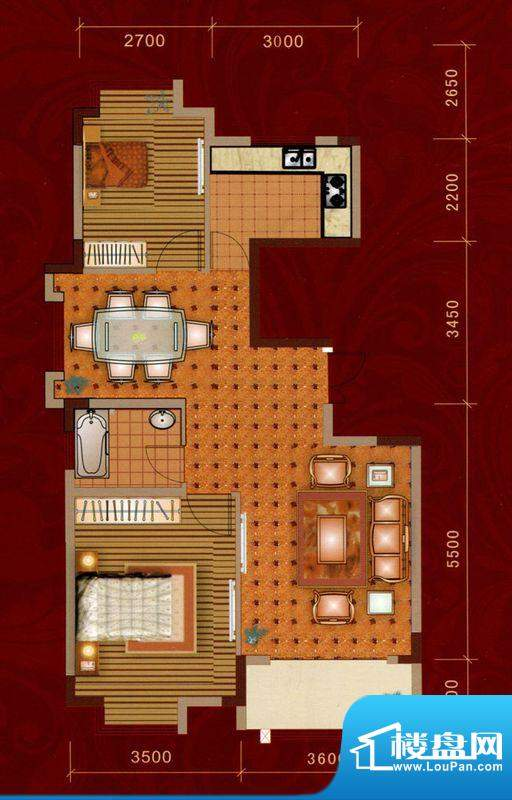 嘉美大厦A户型 2室2面积:94.00平米