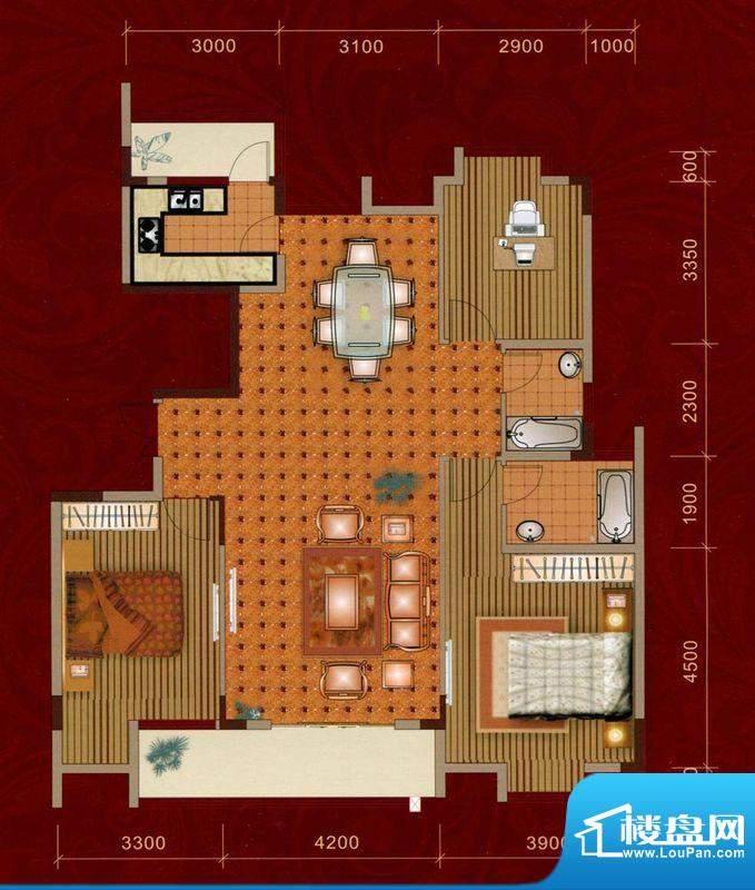 嘉美大厦B户型 3室2面积:150.00平米