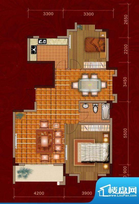 嘉美大厦C户型 2室2面积:109.00平米