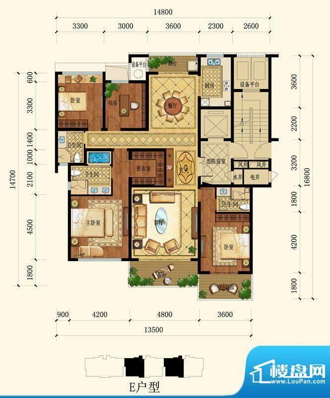 敔山嶺秀E户型 4室2面积:183.00平米